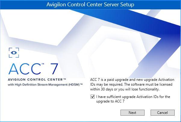 ACC 7 Upgrade Warning Message