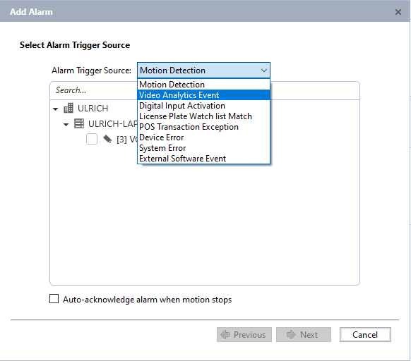 Select Alarm Trigger Source and the relevant device